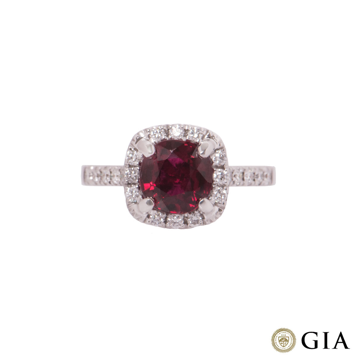 White Gold Diamond And Ruby Ring 2.54ct